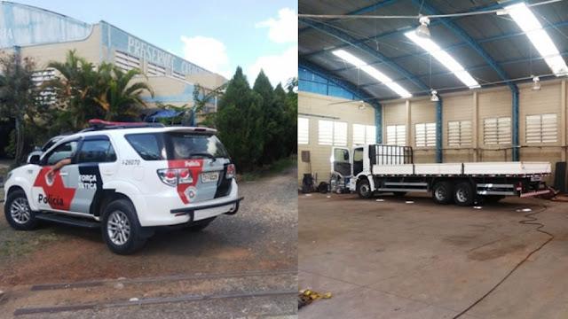 PM de Mogi Guaçu descobre barracão usado para 'esquentar' caminhões roubados