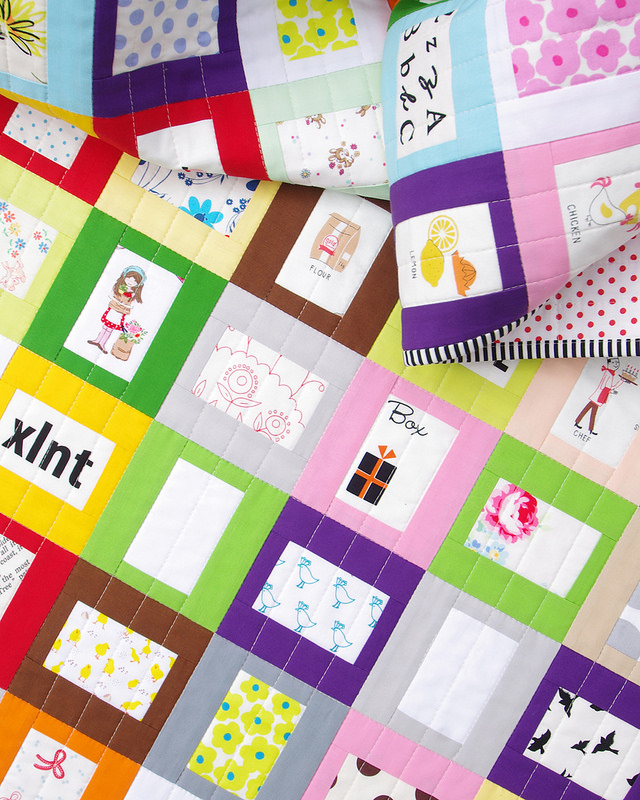 The finished Story Quilt - A Modern and Colorful Story Quilt for Kids