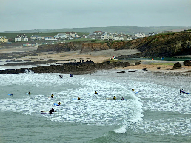 Beach and surfers at Bude, Cornwall