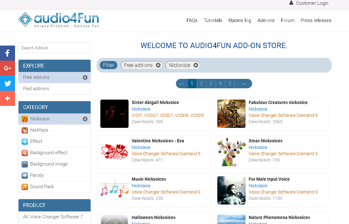 Add-on Store for Voice Changer Software ~ Voice Changer
