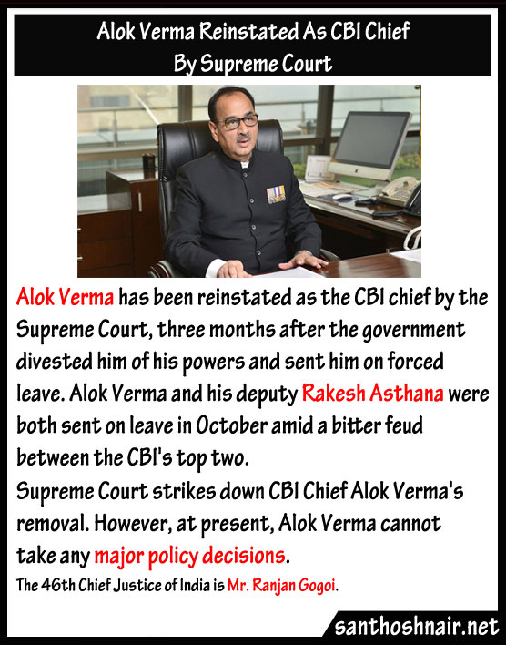 Alok Verma reinstated as CBI Chief by Supreme Court