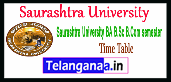 Saurashtra University BA B.Sc B.Com 1st 3rd 5th semester Time Table 2018 Admit Card