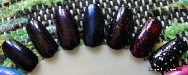 Swatches (left to right) of Revlon Parfumerie Wild Violets (alone) and then topped with e.l.f. Summer Solstice, Supernova, Big Bang Blue, Fairy Dust, Love Me, and Enchanted.