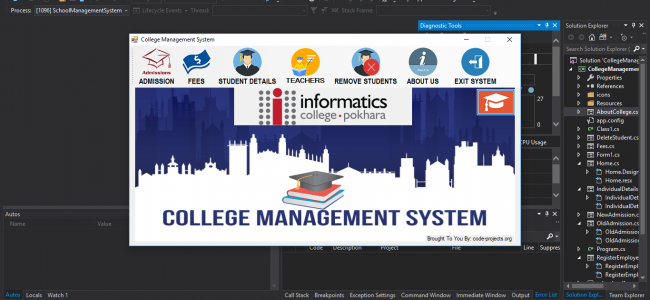 College Management System in C# with source code | Complete