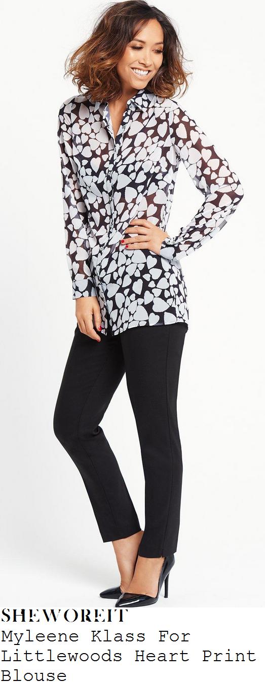 myleene-klass-black-white-monochrome-heart-print-long-sleeve-button-up-sheer-blouse