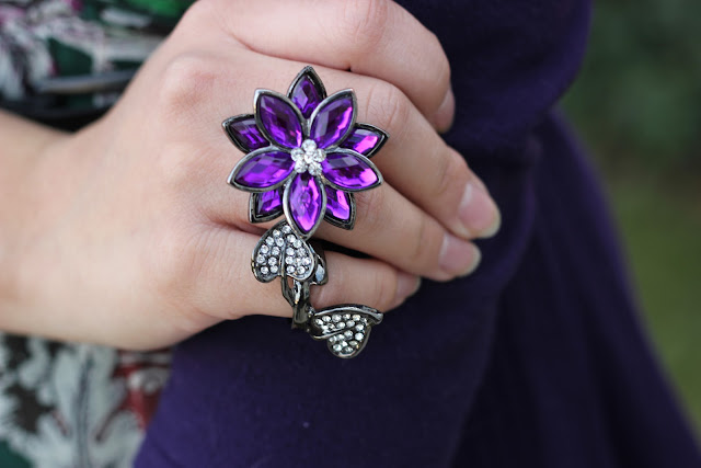 Wet Seal Purple Flower Ring