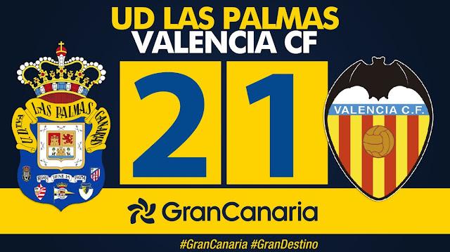 Marcador final UD Las Palmas 2-1 Valencia CF