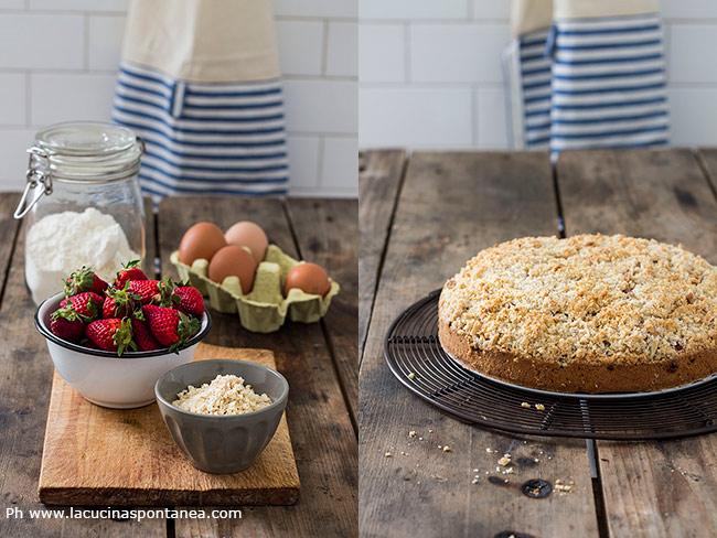 Ingredienti per la torta di fragole con crumble di mandorle