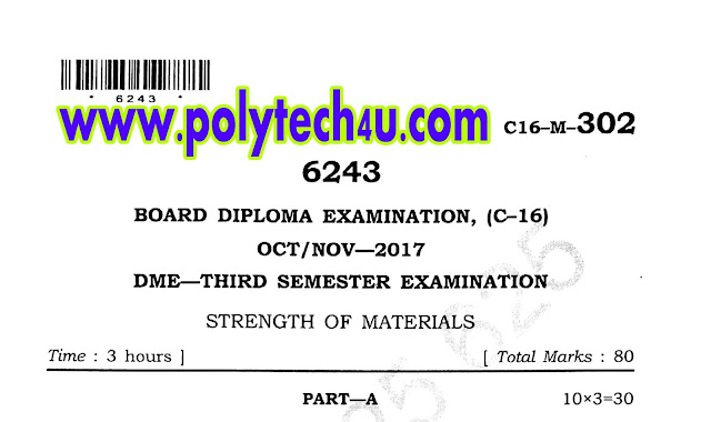 STRENGTH MATERIALS QUESTION PAPERS