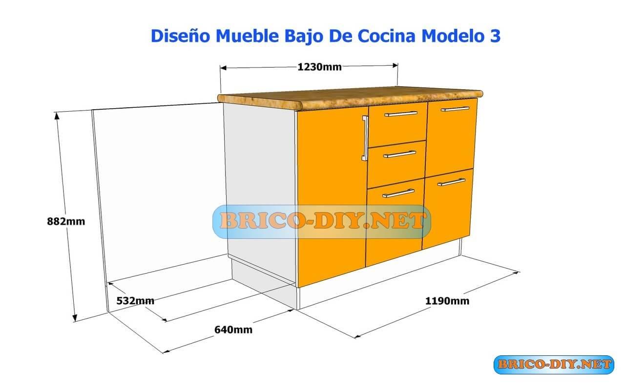 Dise os de muebles bajos de cocina en mdf madera y for Modulos de muebles de cocina medidas