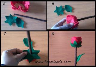 Tutorial membuat sekuntum mawar merah dari kain flanel part 2
