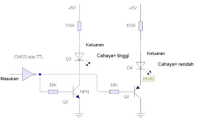 LED pengantarmukaan dengan pengedali hambatan, rangkaian indikator tinggi-rendah.