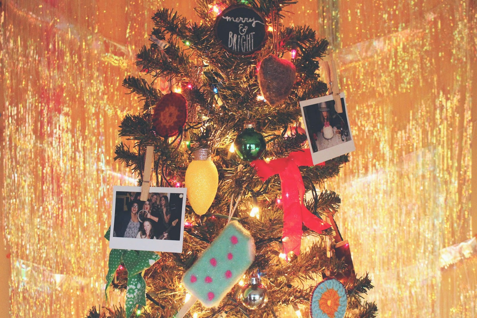 Instant Film On A Christmas Tree