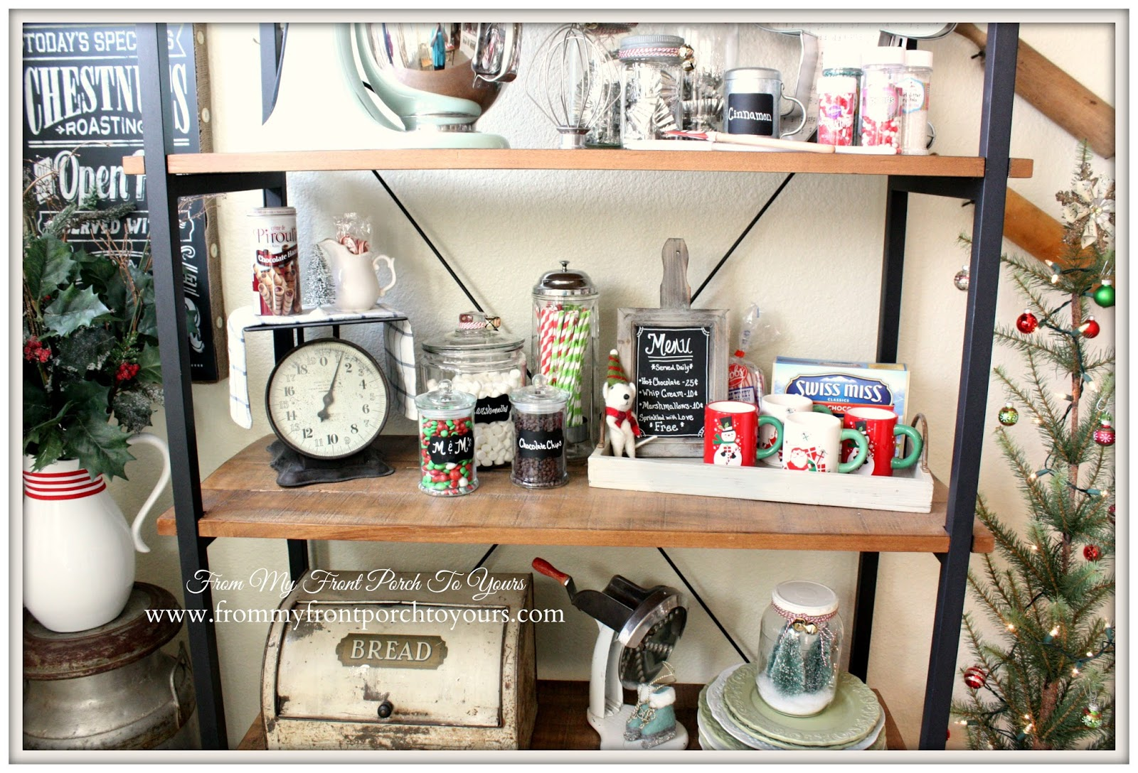 Hot Cocoa Station-French Farmhouse Christmas Kitchen- From My Front Porch To Yours