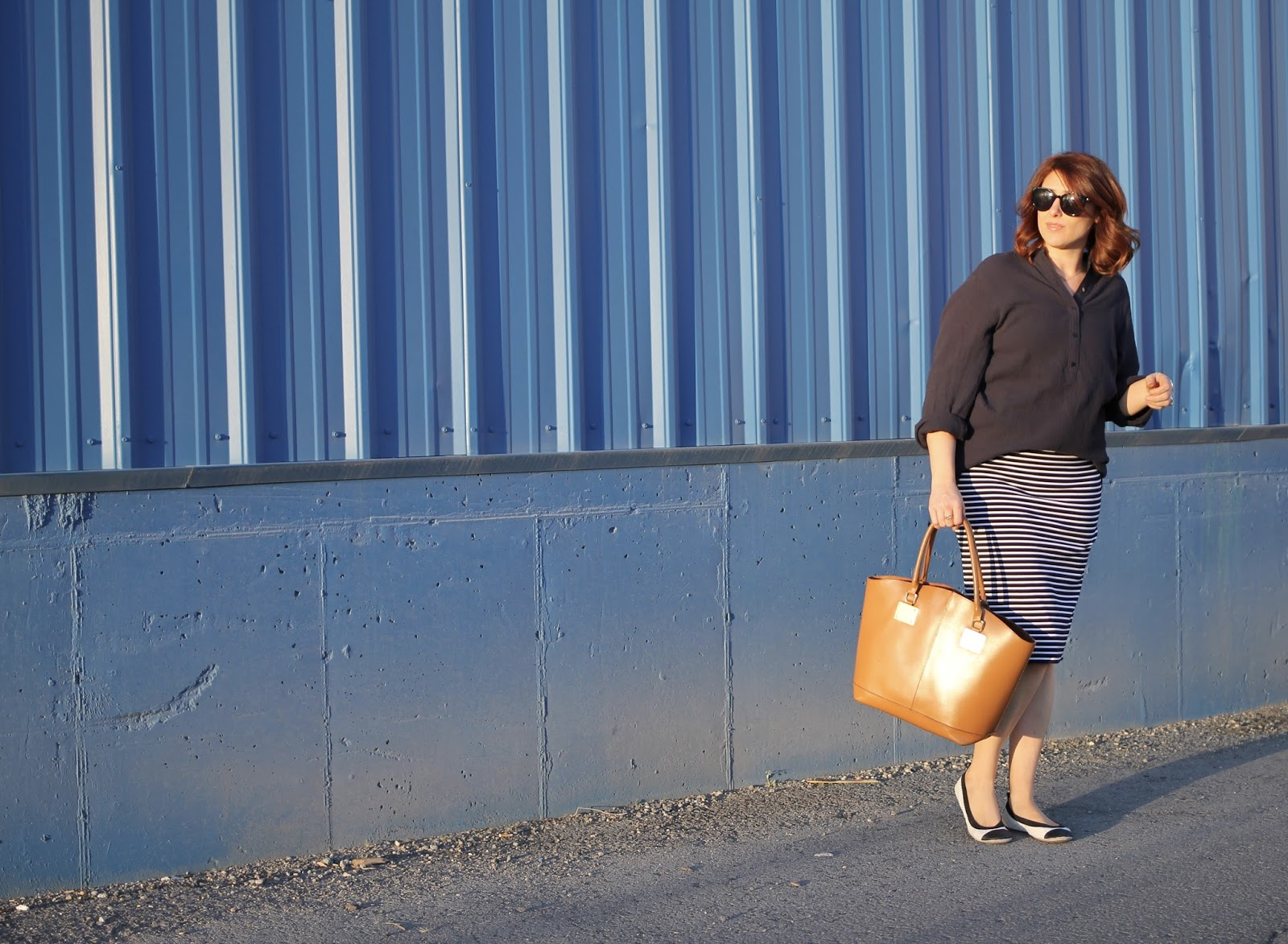 yosi samra flats, striped pencil skirt, navy crinkle tunic H&M, congac tote bag leather