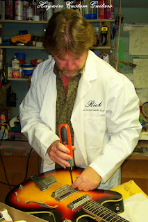 image results of Rick Mariner CEO of Haywire Custom Guitars, performing a Guitar Set Up