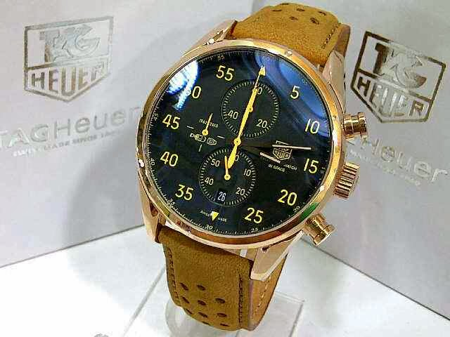 Jam TaG Heuer Space X Leather Rosegold Jarum Kuning