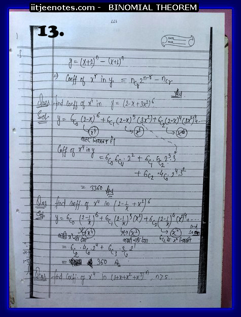 IITJEE Competiton Notes on Binomial Theorem