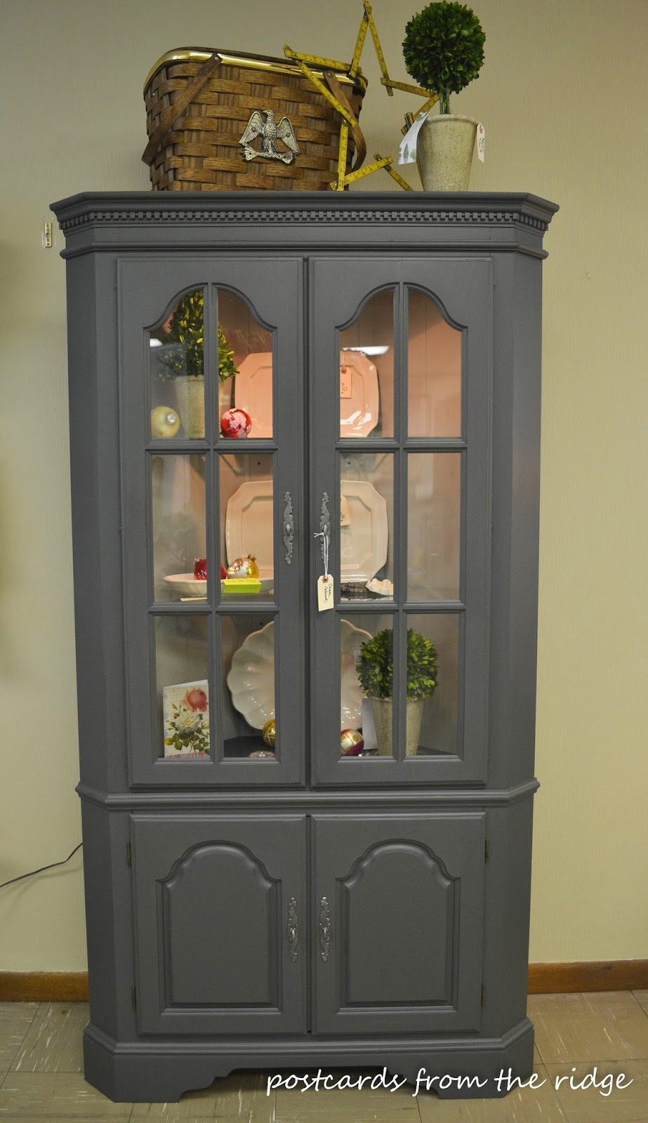 Ashwood Moss Painted Corner Cabinet And A New Wax That I