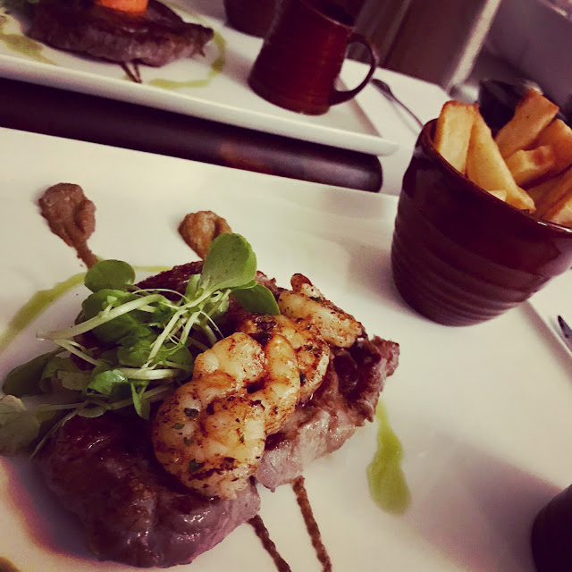 Wagyu Steak, Tiger Prawns, Triple Cooked Chips at The Blue Grill, Thoresby Hall, Nottinghamshire