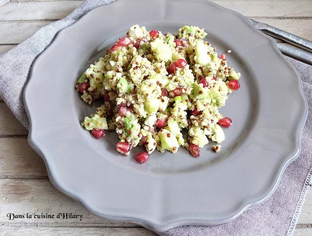 Salade au quinoa, avocat, concombre, feta et grenade