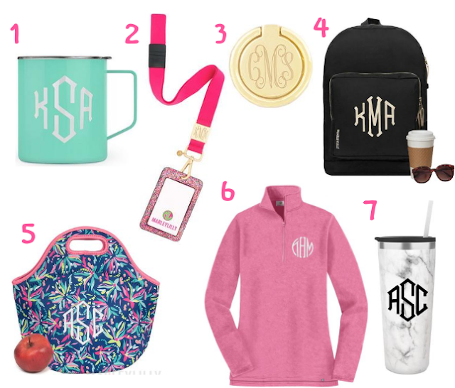 back to school, marleylilly, school, shopping guide, monogram, monogrammed phone ring, monogrammed everyday backpack, monogrammed lunch bag, monogrammed pullover sweatshirt, monogrammed acrylic cup, monogrammed insulated coffee mug, monogrammed confetti breakaway lanyard, gift guide, insulated mug, breakaway lanyard, phone ring, backpack, lunch bag, pullover sweatshirt, acrylic cup