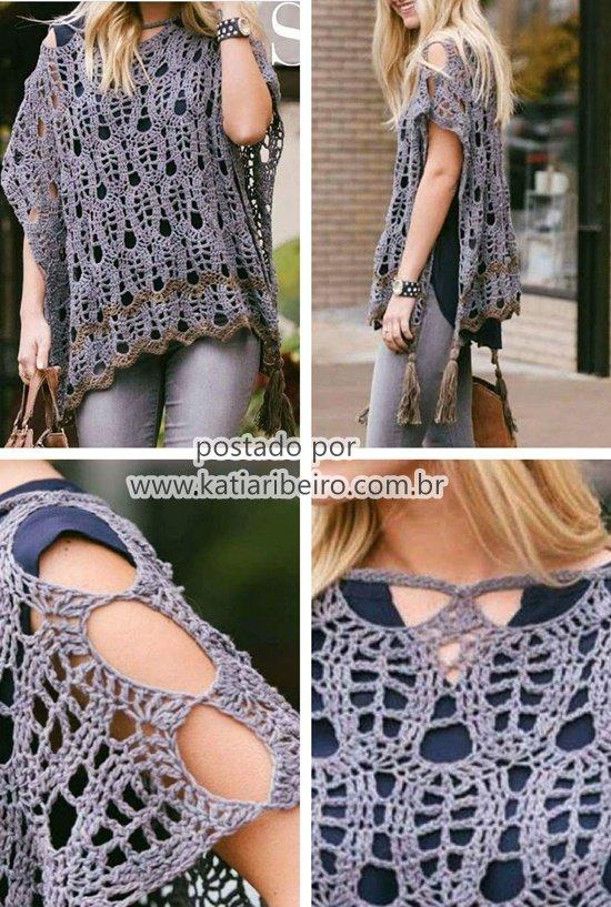 daf49fd23 Poncho Blusa em Crochê - Katia Ribeiro Crochê Moda e Decoração