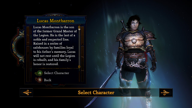 Dungeon Siege III Lucas Montbarron character select screenshot