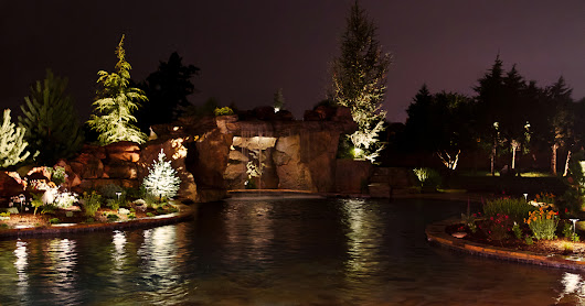 Outdoor Lighting Highlights Pool and Landscape
