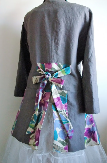 Linen peplum jacket upcycled by Karen Vallerius