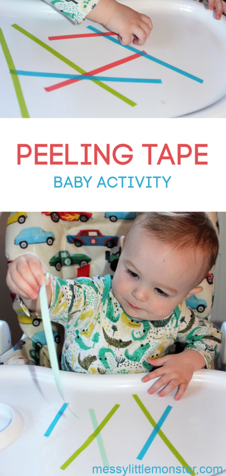 Peeling tape fine motor activity. A baby activity that is easy to set up and works on babies pincer grasp. We love easy baby activities like this!