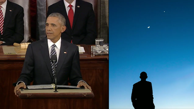 State of the Union President Barack Obama sihoulette looking at the sky
