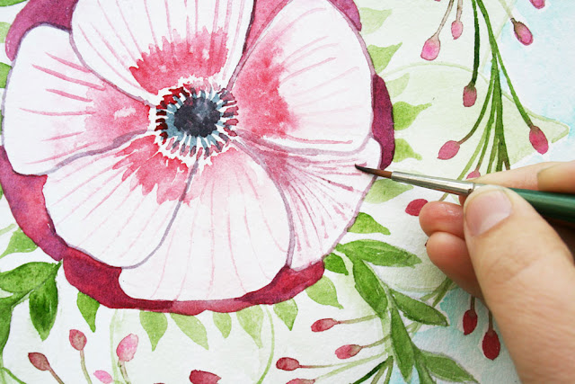 Louise Gale, Watercolor, Botanical Mandala, painting, mandala flowers, anemone