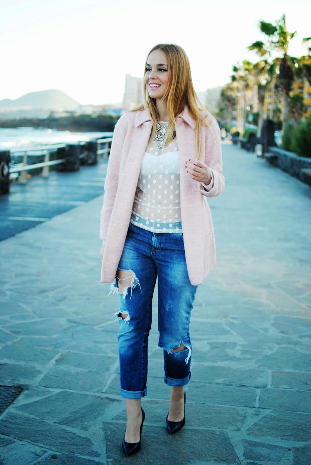 nery hdez, candy coat, polka dots, blonde , boyfriend jeans