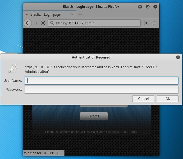 Elastix freepbx default password
