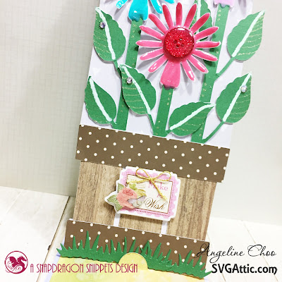SVG Attic: Flowers Easel Card with Angeline #svgattic #scrappyscrappy #jgwsunflowersunshine #easelcard #card #cardmaking #papercraft #craft #crafting #nuvodrop #tonicstudios #gellyroll #ginamariedesign #katscrappiness