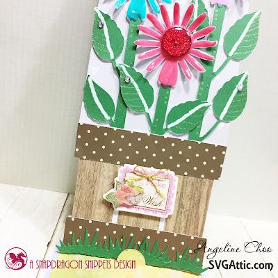 SVG Attic: Flowers Easel Card with Angeline #svgattic #scrappyscrappy #jgwsunflowersunshine #easelcard #card #cardmaking #papercraft #craft #crafting #nuvodrop #tonicstudios #gellyroll #ginamariedesign #katscrappiness