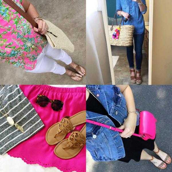 lilly pulitzer, denim on denim, pink scallop skirt, pink purse