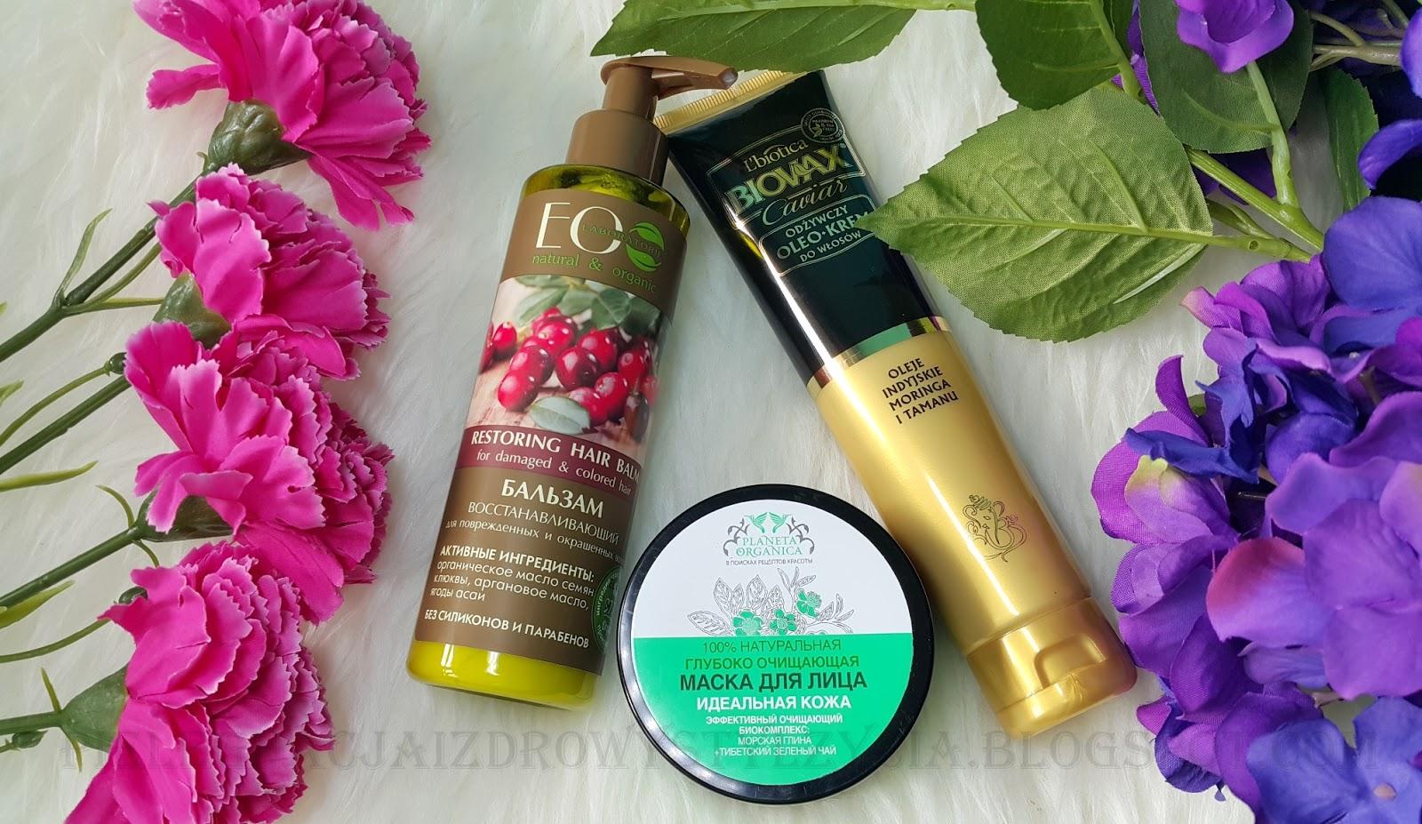 Ulubieńcy kosmetyczni marzec 2017: odżywka do włosów Ecolab, oleo - krem Biovax, maska oczyszczająca Planeta Organica