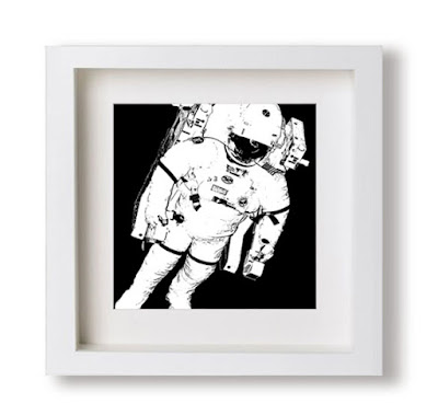 black and white astronaut illustration