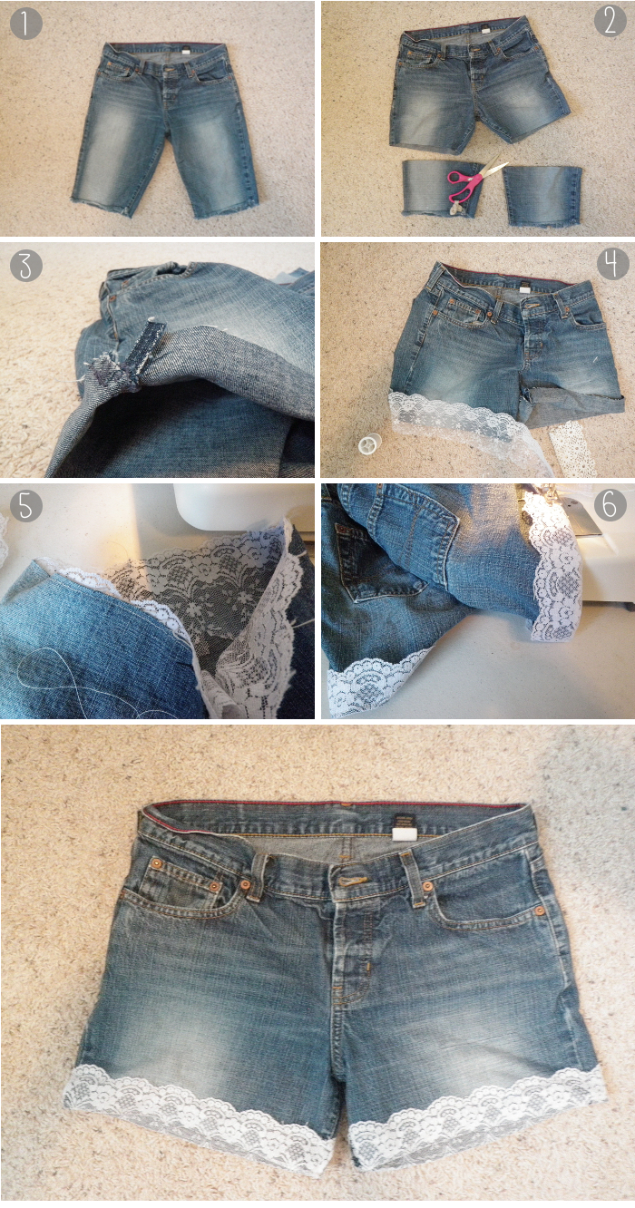 oh whimsical me: DIY Lace Cuffed Shorts