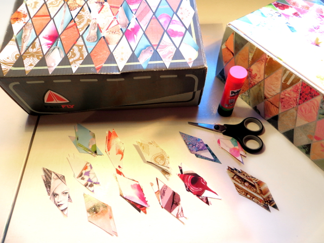 Recycle DIY: Reuse old shoeboxes as storage boxes. Decorating them with magazine pages, used stamps and old entrance tickets etc. makes them pretty and personal. Watch the video tutorial and print the diamond collage stencils for free.
