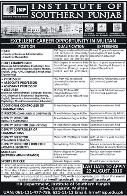 Teachers Jobs in Pakistan Institute of Southern Punjab Jobs in Multan ISP Jobs