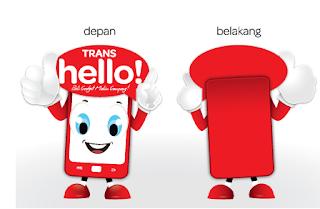 Contoh design kostum maskot tampak depan dan belakang, kostum badut karakter HP, cosplay, Trans hello