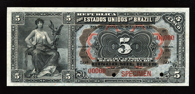 5 mil reis Brazil paper money currency American Banknote Company