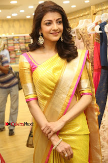 Actress Kajal Agarwal Stills in Golden Silk Saree at Trisha Sesigner Store Launch  0036.jpg