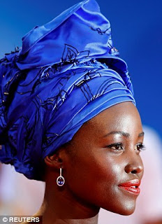 Lupita Nyong'o Tiffany and Co tanzanite and white diamonds earrings