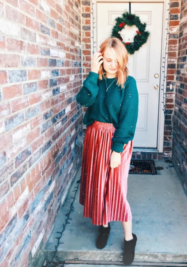 Velvet Skirt & Sweater Winter Outfit