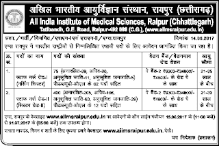 AIIMS-Raipur-Staff-Nurse-Vacancy Recruitment Notification-2017
