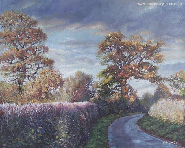 M P Davey road with hedgerows and trees painting